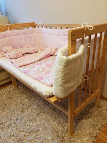Łóżeczko dostawne regulowane jak nowe materac ochraniacze