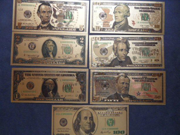 pozłacane banknoty usa dolar od 1-100 dolarów pozłacane komplet 7 szt