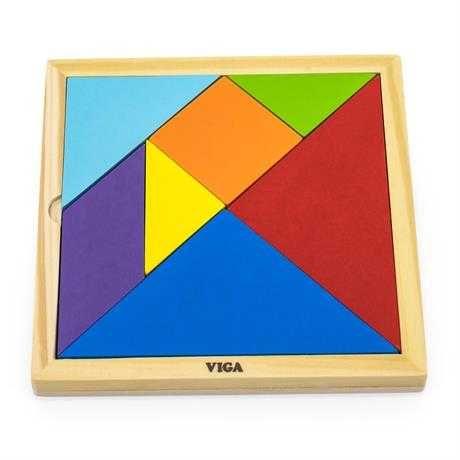 Игра головоломка Viga Toys Цветной деревянный танграм 7 эл.