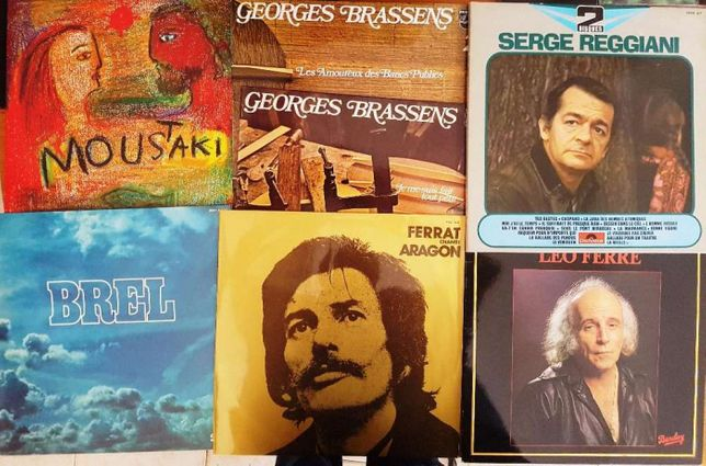 lp vinil música francesa (Brel Ferrat Ferré Brassens Moustaki )