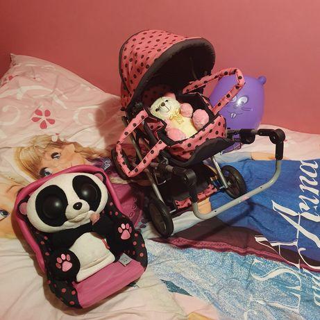 Wózek dla lalek plus nosidełko - zestaw