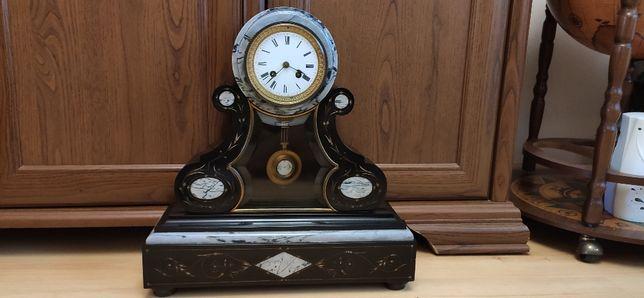 Wspaniały Wielki zegar kominkowy czarny marmur ,XIXw,Francja