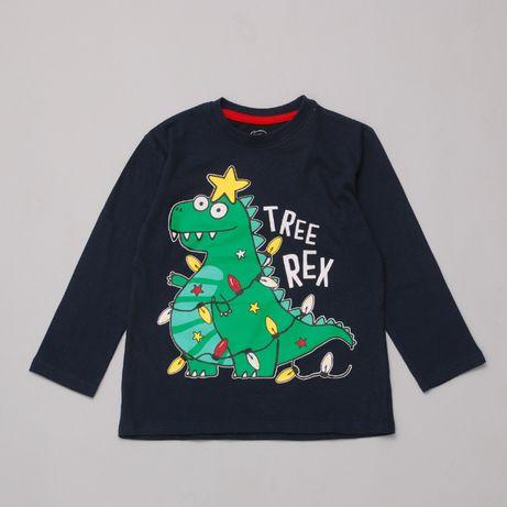 Лонгслив для мальчика реглан с новогодним принтом динозавр Pepco