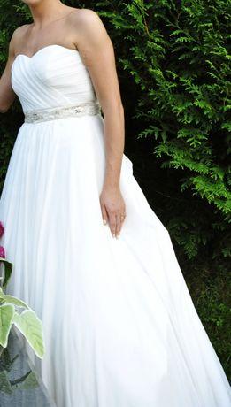Suknia ślubna Impresja z trenem ecru, roz 40 /L wzrost 173 cm + 10 cm