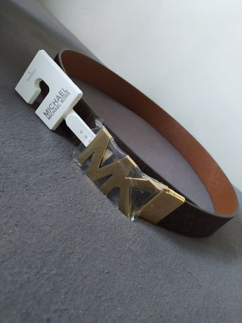 Pasek Michael Kors brązowy dwustronny monogram złota klamra S
