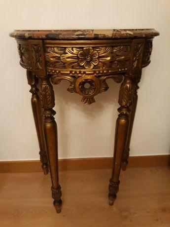 Consola em talha dourada com pedra mármore e espelho