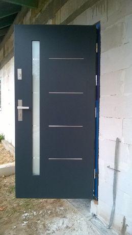 drzwi wejściowe dębowe Henry inox kompl. z ościeżnicą