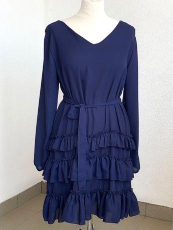 sukienka z falbaną i paskiem, granatowa S/M