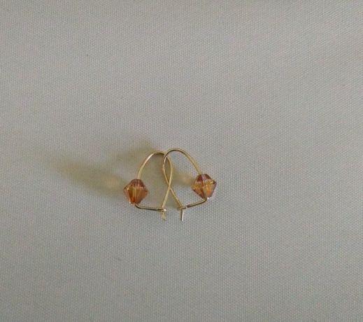 kolczyki złote 14karat z kryształkami Swarovski