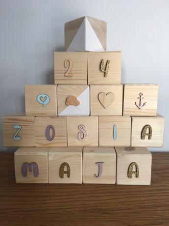 Drewniane kostki dekoracja pokoju dzieciecego imie cyfry
