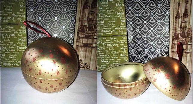 Новый Новогодний шар шкатулка Металический 11х10 см золотой с узором