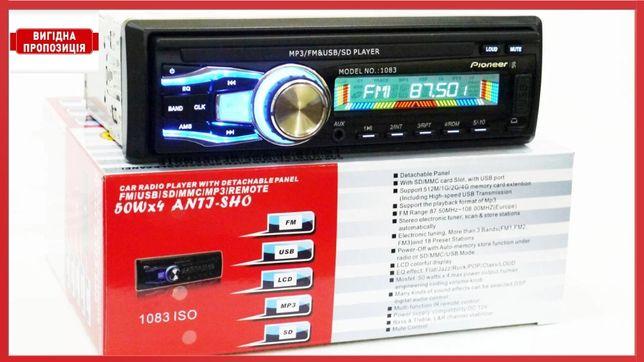 Автомагнитола Pioneer 1083 в машину AUX+microSD+USB(съемная панель)