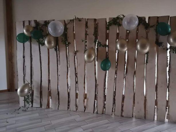 Ścianka drewniana, dekoracje ślubne 18 lecie wesele tło