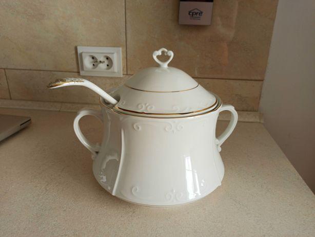 Zestaw waza /misa (chodzież) na zupy porcelana i chochla z PRL