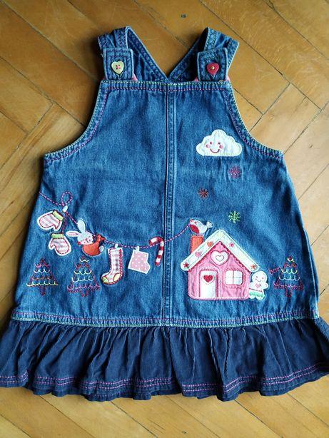 Jeansowa sukienka ze świąteczną aplikacją