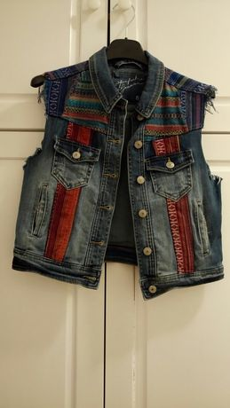 Kamizelka dżins jeans boho hippie etno vintage, Gina Tricot r. S