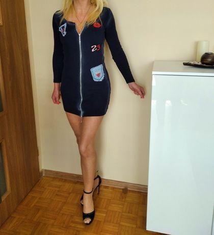HIT CZADOWA sukienka mini granat cieniowana naszywki M L GRATIS WYSYŁK