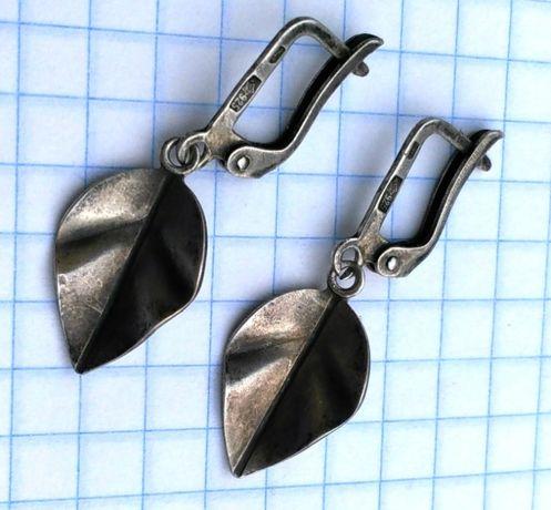 Серьги Листики серебро 925 звезда СССР