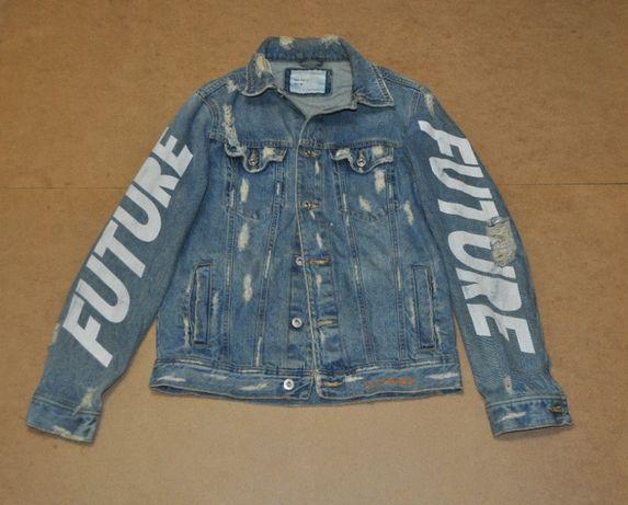 Zara man рваная крутая джинсовка джинсовая куртка