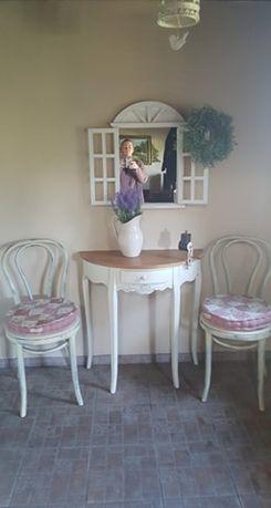 stolik krzesła shabby chic konsola retro prl