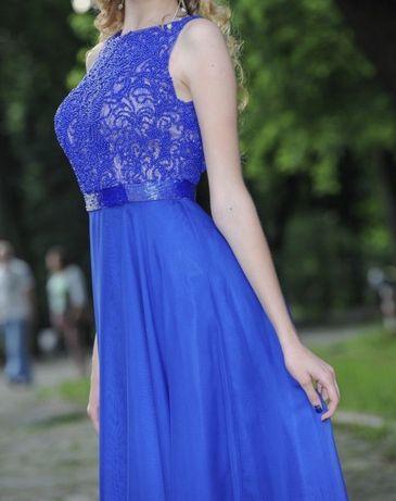 Длинное платье в пол Sherri Hill вечернее синее