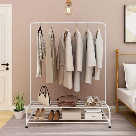 OUTLET - wieszak metalowy na ubrania torebki buty garderoba z półką