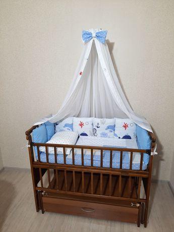 Цена за всё!Детская Кроватка с Новым бельем,кровать маятник