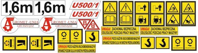 Naklejki glebogryzarki Agromet Unia Grudziądz U500/1 1,6m.: