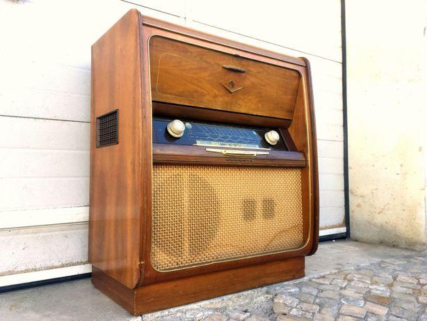 Aparador rádio gira discos grundig a funcionar 72comp X 43prof X 85alt