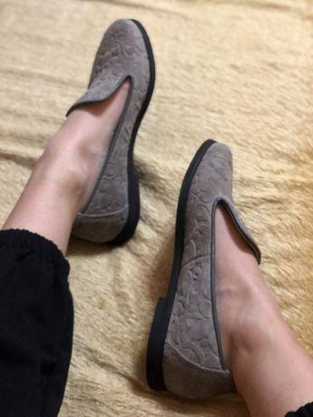 Лоферы туфли балетки натуральная кожа замша
