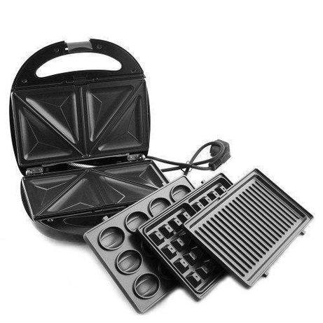 Гриль, бутербродница, вафельница, орешница Domotec MS-7704, 1000Вт