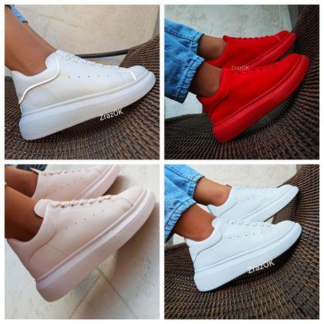 Sale Белые красные кроссовки кеды ботинки осенние в стиле McQueen