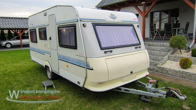 Wynajem przyczepy kempingowej Hobby 460 wypożyczalnia Camping kamping