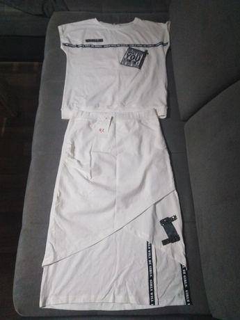 Komplet zestaw spódnica midi bluzka biała sportowa dresowa S