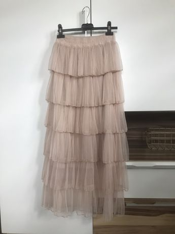 Piękna elegancka spodnica tiulowa falbany uni jak nowa