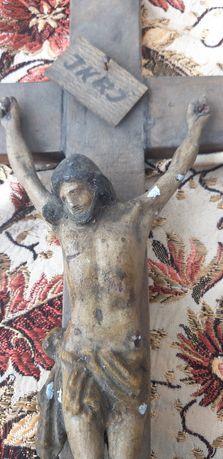 Cristo antigo metal e madeira
