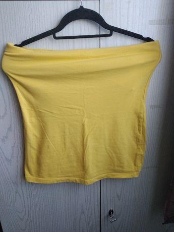 Żółta koszulka letnia - spódniczka - rozmiar 38