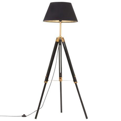 vidaXL Candeeiro de chão tripé 141 cm teca maciça preto/dourado 288076