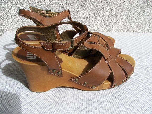 Sandały damskie drewniaki na koturnie
