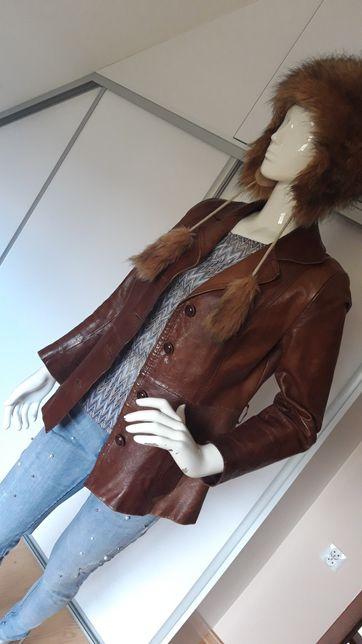 Skórzana kurtka brązowa jesienna marynarka Vintage rozmiar M L 38 40