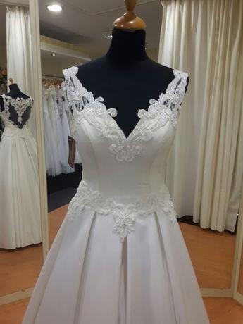 Satynowa suknia ślubna ecru mikado 36 38 WYPRZEDAŻ LUBLIN