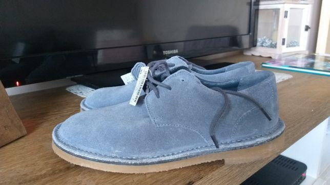 Next 35 buty trzewiki półbuty skóra niebieskie obuwie breki nowe