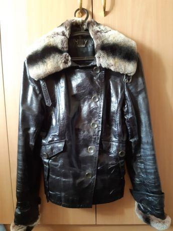 Кожаная куртка с мехом шиншиллы