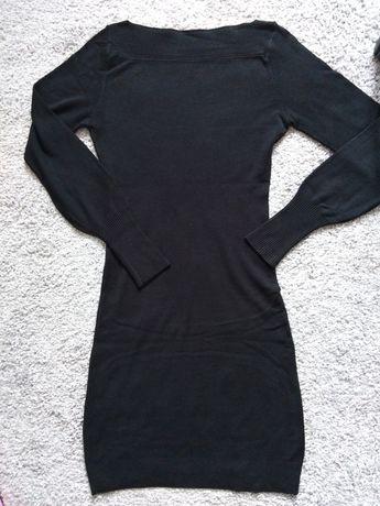 Dzianinowa sukienka czarna 36 dopasowana NOWA
