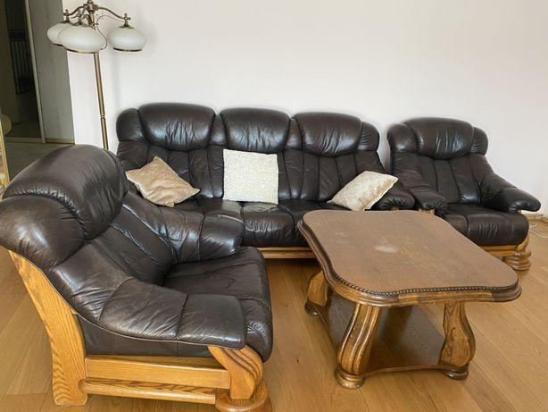 Zestaw wypoczynkowy sofa i fotele skóra i drewno antyki