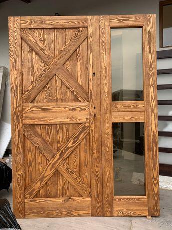 Drzwi DREWNIANE dwuskrzydłowe szczotkowane postarzane wiejskie