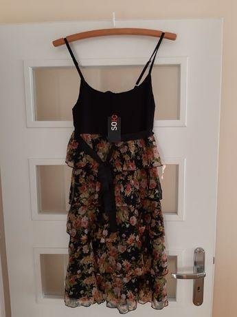 nowa z metką sukienka z falbankami w róże 36 S