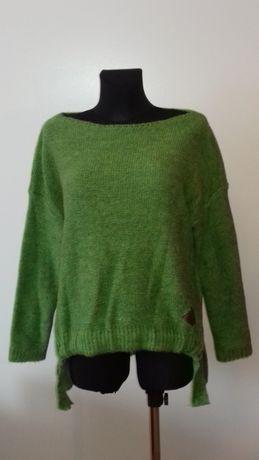 Sweter damski z wiązaniem, zielony, nowy,uniwersalny rozm., najtaniej