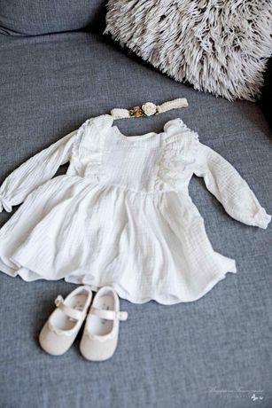 Komplet sukienka boho do chrztu dla dziewczynki 74