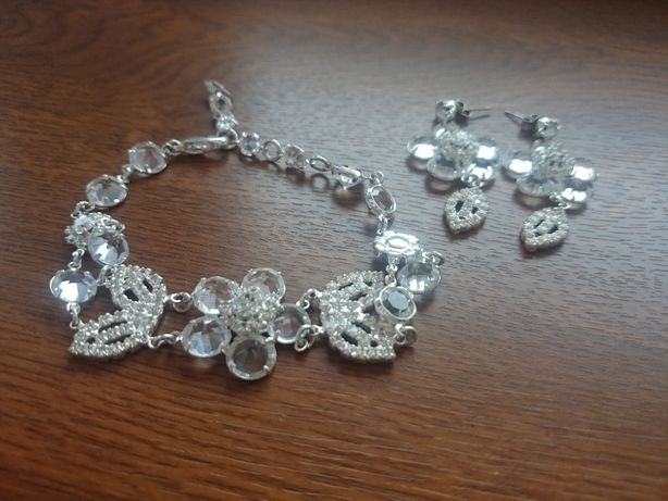Zestaw biżuterii ślubnej OKAZJA srebro kolczyki, bransoletka